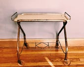 Vintage Gold Metal Rolling Bar Cart w/ Original Casters / Retro TV / Record Stand / Side Table