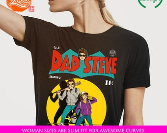 Womens Fit Ringspun:  /  / Steve Harrington / Dad Steve / Batman Parody / Comics Cover