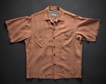 1950s Windowpane Rockabilly Shirt Medium