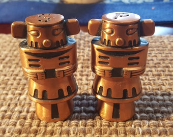 Kachina copper salt and pepper shakers