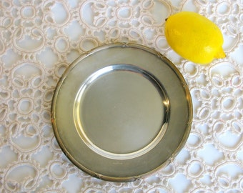Art Deco / Swedish / Silver Plated Plate / Silver Plate / Tray / Trinket Dish / 7 ''/ Mid Century / Scandinavian / GAB NS ALP / Sweden / 30s
