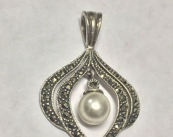 Vintage Sterling Silver Marcasite Pearl Dangle Charm Signed MC