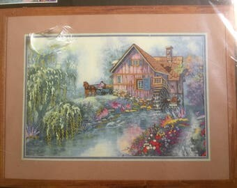 "Dimensions Crewel Kit, Willow Creek Mill, Designed by Carl Valente, A Gallery Collections Design, Vintage Crewel  Kit, 20"" x 14"" frame size"