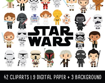 Star wars Clipart Bundle, Disney Star Wars clip art, starwars clipart, darth vader, star wars party, Instant Download PNG 300 - dpi