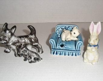 VintageFigurines.  Siamese Cat Sitting on a Blue Chair.  Mama Dog and Puppy.  Rabbit.