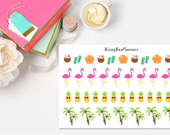 38 Tropical Fun Planner Stickers-ECLP-Happy Planner-Recollections Planner