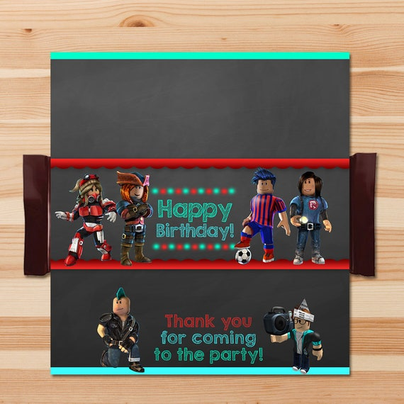 Roblox Candy Wrapper - Chalkboard - Roblox Chocolate Bar Labels - Roblox Party - Roblox Printables - Roblox Birthday Party Favors