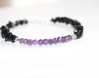 Amethyst and Obsidian Anklet/ Faceted Amethyst anklet/ Black Obsidian Anklet/ Gemstone anklet/ Healing anklet/ Purple and black anklet/ Boho