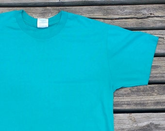 Plain Jane 90's Teal Green Aqua Made in USA blank t-shirt large sized