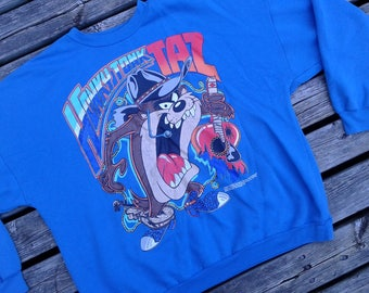 Vintage 1992 Honky Tonk Taz Tasmanian Devil Blue Crewneck Novel Teez Designs Inc. Sweatshirt