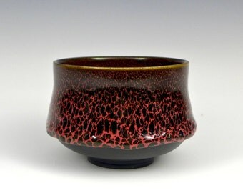 Handmade Black and Red Porcelain Oil Spot Tea Bowl