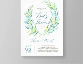 Baby Shower Invitation | Editable Baby Shower Invite | Printable | Blue & Green Watercolor Wreath | Instant Download | DIY | Templett #034BS