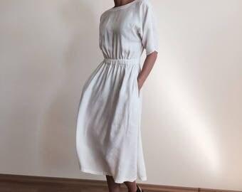 Midi White Linen Kimono Dress With Elastic Waist Fit And Flare Summer