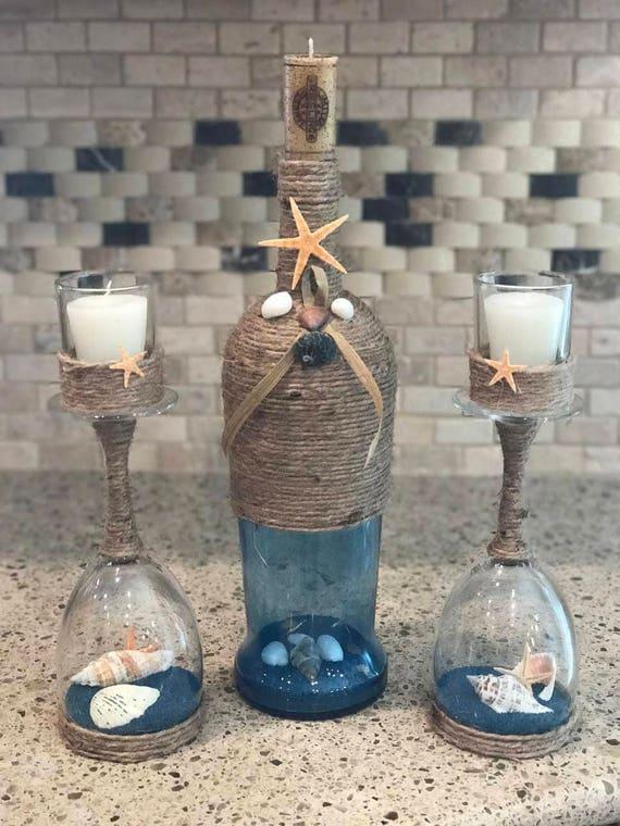 wine bottle candle holder coastal candle holder beach candle. Black Bedroom Furniture Sets. Home Design Ideas