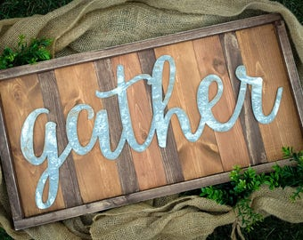 Gather Sign / Fall Sign / Autumn Sign / Thanksgiving Sign / Hand Painted Wood Sign / Farmhouse Style Sign / Rustic Sign