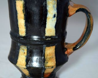 Pottery Hand Thrown, Hand Glazed Stripped Coffee Mug
