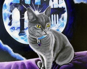 "Moon Cat 8x10"" giclee print"