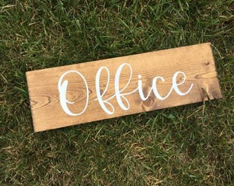 Wood Office Sign | Custom Wood Office Sign | Hand Painted Wood Office Sign | Wood Office Signage | Stained Wood with White Lettering Sign