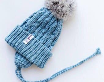 Blue Baby merino hat Organic baby clothes Baby reveal box Organic newborn hat Knit earflap hat Merino wool baby hat Woolen hat Crochet