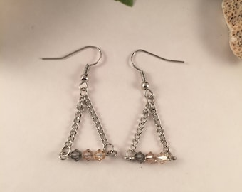 Triangle, dangle Swarovski crystal earrings