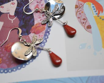 Red and silver Dragonfly earrings