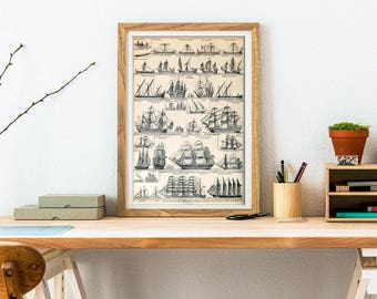 Ship Print - Sailing Ship Poster - Nautical Poster - Frigate Print - Ship Collection - Shop Gallery - Transport Print - Wall Art Print