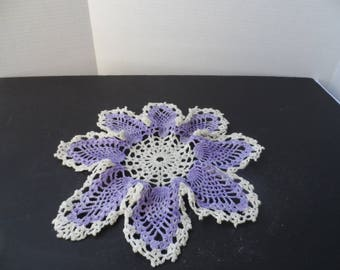 Free Shipping in USA Vintage Hand Crocheted Cotton  Light Purple Violet and White Doily  2073