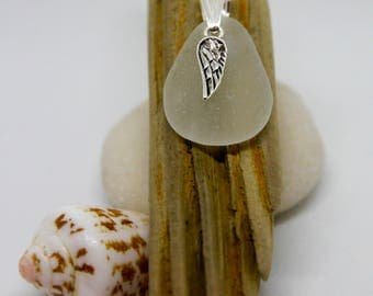 Seaglass and winged pendant necklace