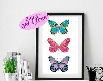 Cross stitch pattern butterfly, butterfly collection cross stitch, baby cross stitch pattern