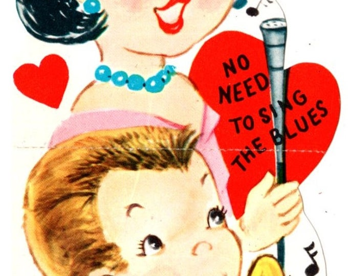 Vintage No Need To Sing the Blues You Are My Valentine Die-Cut Children's Classroom Valentine's Day Card UNUSED