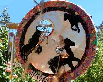 Shamanic drum deerskin dream catcher