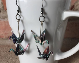 Origami paper cranes painted duo earrings