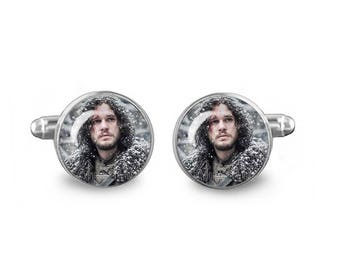 Jon Snow Cuff Links Game of Thrones Cuff Links 16mm Cufflinks Gift for Men Groomsmen Novelty Cuff links Fandom Jewelry