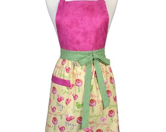 SALE Womens Retro Kitchen Apron in Birds and Flowers on Soft Yellow Full Bib Cooking Apron with Lined Pocket