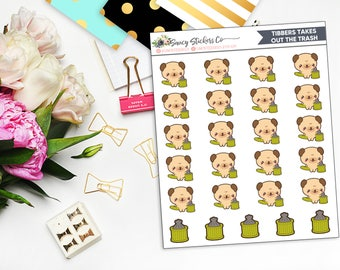 Tibbers Takes Out the Trash | Pug Planner Stickers