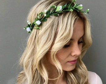 Floral crown wedding flower crown Flower headband Bridal floral crown Bridal crown wedding hair wreath wedding crown floral head wreath
