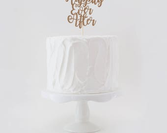 Happily Ever After Double Sided Glitter Wedding Cake Topper, Wedding Cake Topper, Glitter Wedding Cake Topper