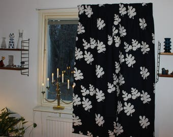 "Amazing vintage retro 70s pair of black Curtain lengths with white leaves ""Glada Blad"". Designed by Sven Fristedt, Sweden Scandinavian."