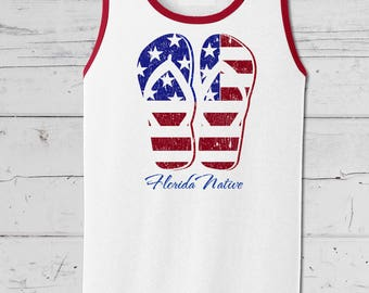 Kick back in your Florida Native Flip Flop Flag, Mens Tank Top, A Fourth of July favorite.