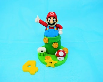 Handmade Edible Super Mario Style Birthday Cake Topper
