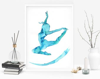 Like a butterfly. Original watercolor art inspired by dance. Perfect gift for a dancer. Size 8x11.5 inches. One of a kind. Signed art piece.