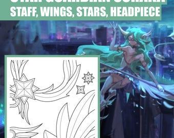 Star Guardian - Soraka - Staff - Wings - Stars - Headpiece - Weapon - Blueprint - Pattern - Vector - PDF file - League of Legends - Cosplay