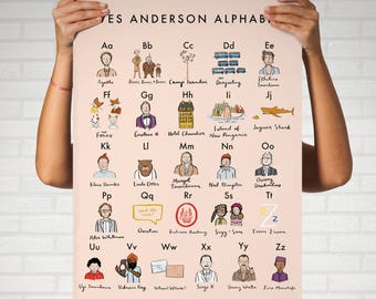 Wes Anderson Alphabet Poster 16x20