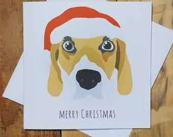 Christmas Cards, Beagle Card, Funny Christmas Card, Dog Christmas Cards, Cute Holiday Card, Hound Dog Art, Merry Christmas