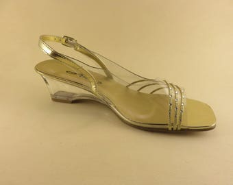 Clear Competition Shoes Size 8 Clear Gold Rhinestone Wedges Sling Back Open Toe