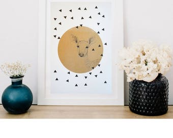 Deer Print//Risograph Print//Two Colour Riso//Screenprinted print//Black and Gold//Geometric Shapes//Gold circle//A4 and A3 Options