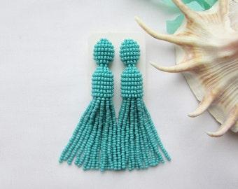 Turquoise tassel earrings Beaded tassel earrings Oscar tassel earrings Long fringe earrings Short tassel earring Oscar earrings