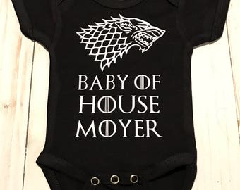 """Customized """"Baby of House (Your Last Name)"""" Baby Onesie- Personalized Bodysuit"""
