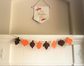 Happy Fall Felt Banner | Home Decor | Home Sign | Fall Decor | Fall Signs | Autumn Decor | Fall Leaves | Autumn Leaves | Gift | Personalized