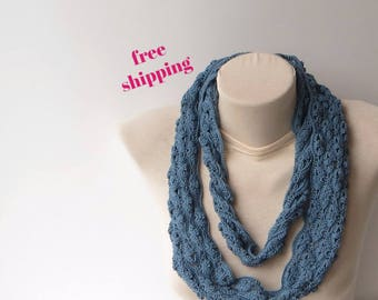 Infinity scarf, Circle scarf, Crochet loop scarf, Knitted long scarf, Knit scarf, Lace scarf, Lightweight scarf, Summer scarf, 100% Cotton.